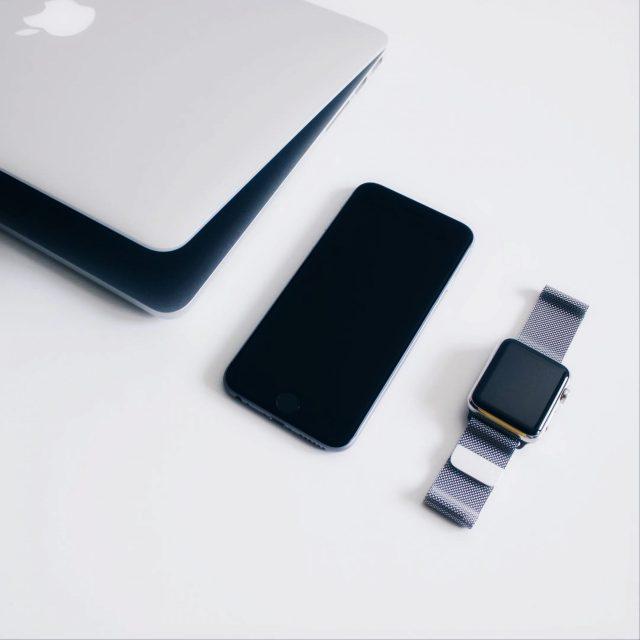 mobile, laptop, watch