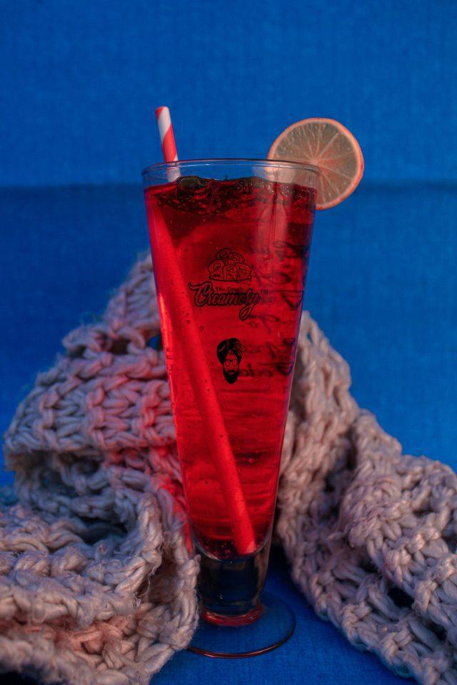 A watermelon juice glass