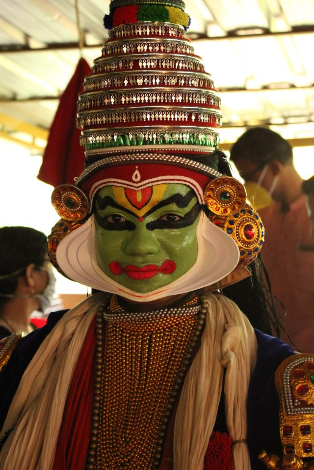 A portrait of a kathakali dancer