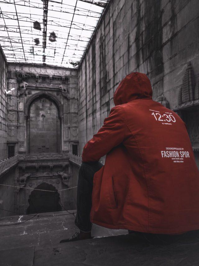 A boy at a historic building