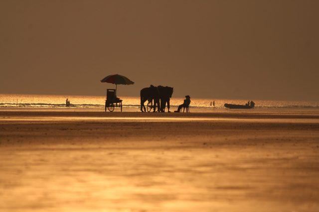 A beach during evening