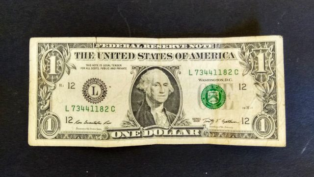 USA one dollar note