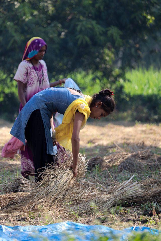 Woman working in field