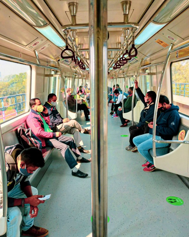 people travelling in a metro
