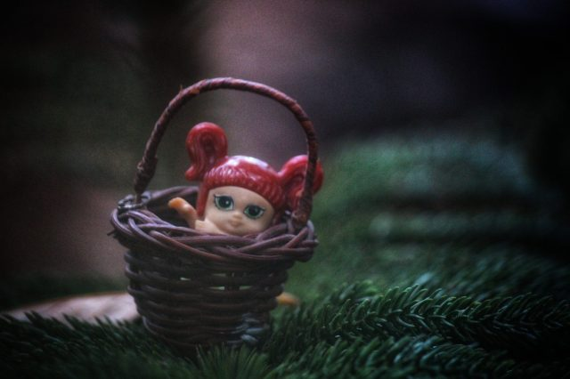 Doll toy in basket