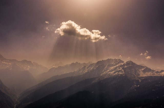 sunlight behind clouds