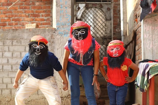Kids with creative facemask