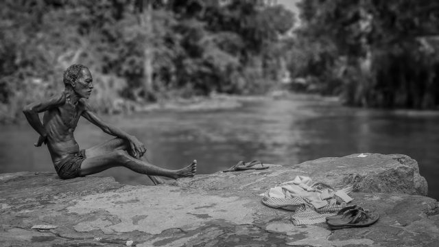 Man bathing in the river
