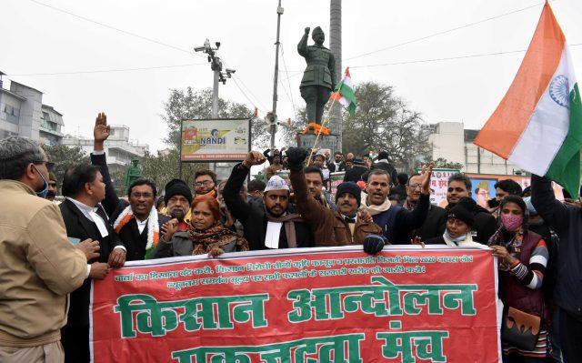 Farmer protesting