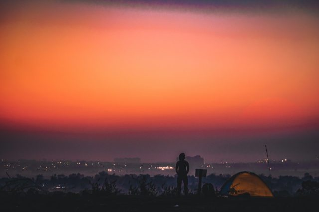 Sunrise view from a hill