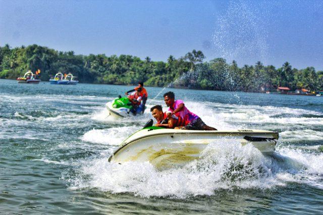 Boys on speed boat