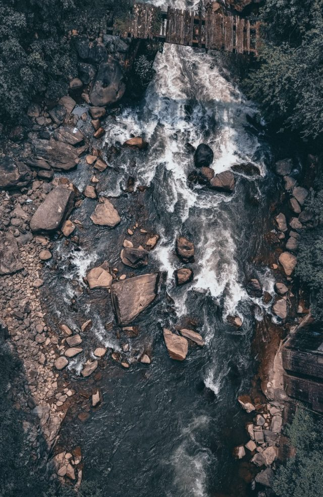the flowing water