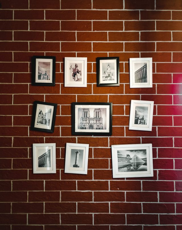 Photo frames hanging on a wall
