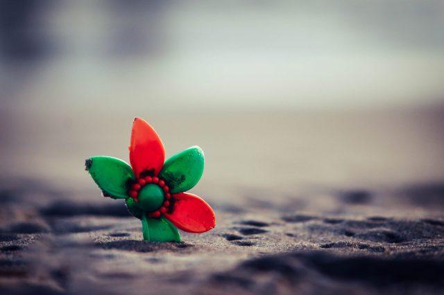 A broken artificial flower
