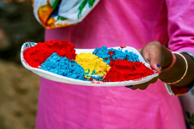 Holi colors in plate