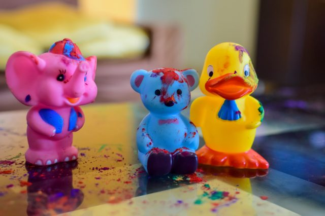 Holi colors and toys