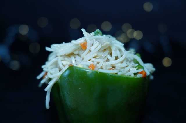 Noodles presented in the capsicum