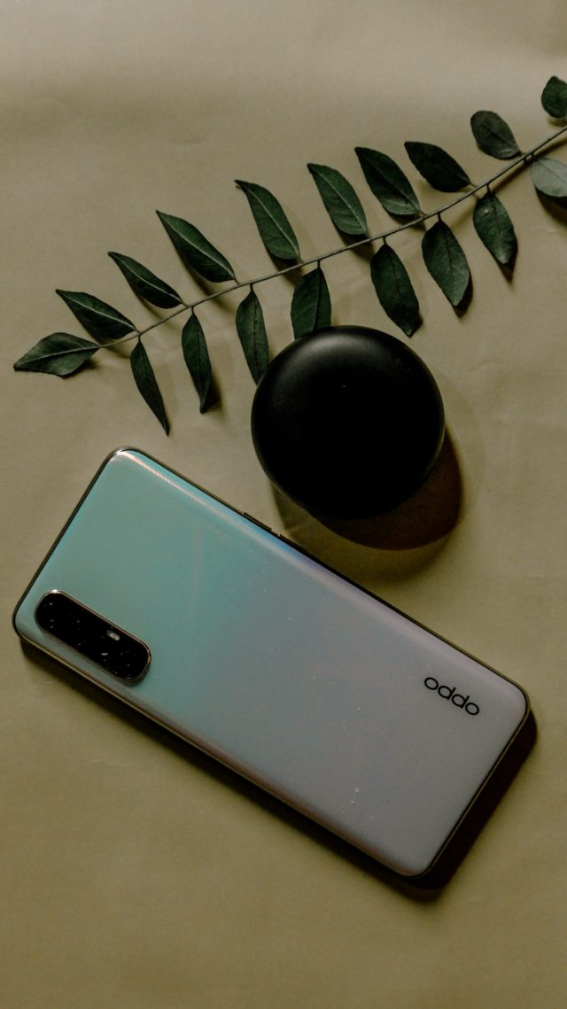Oppo mobile and plant leaf