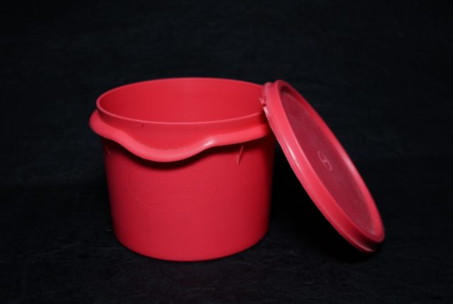 A red tiffin box