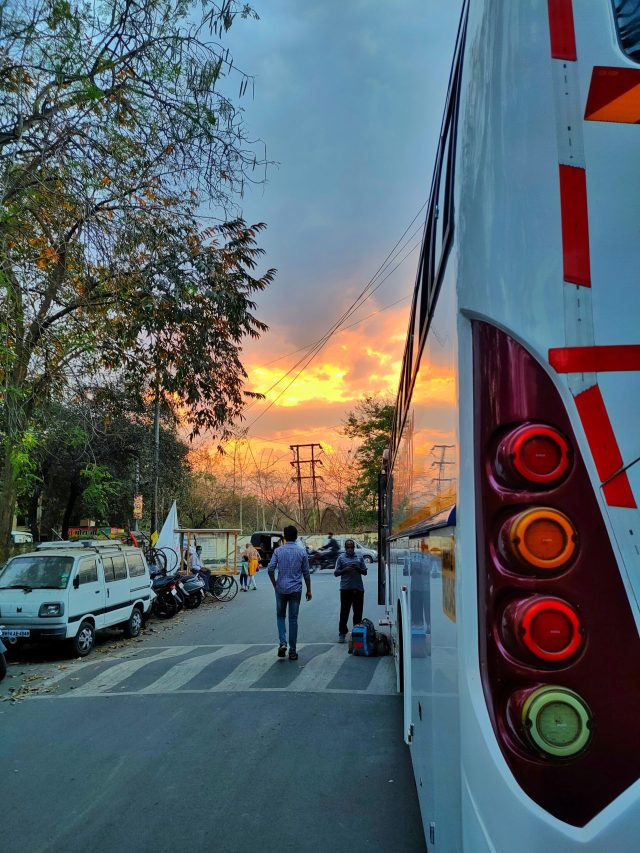 Bus tail light lamps and sunset