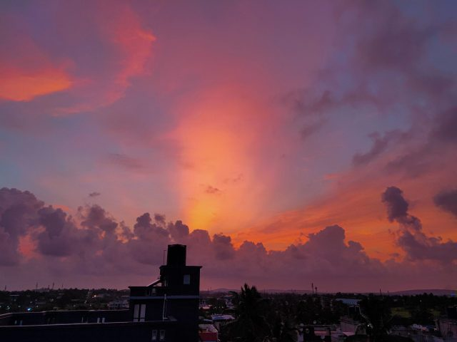 Clouds formation during sunset