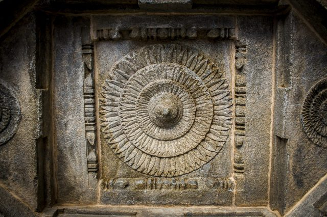 Stone carving on a temple wall