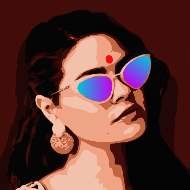 A girl and sunglasses illustration