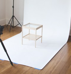 set up to show how to photograph furniture