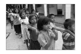 Children assembling into a line