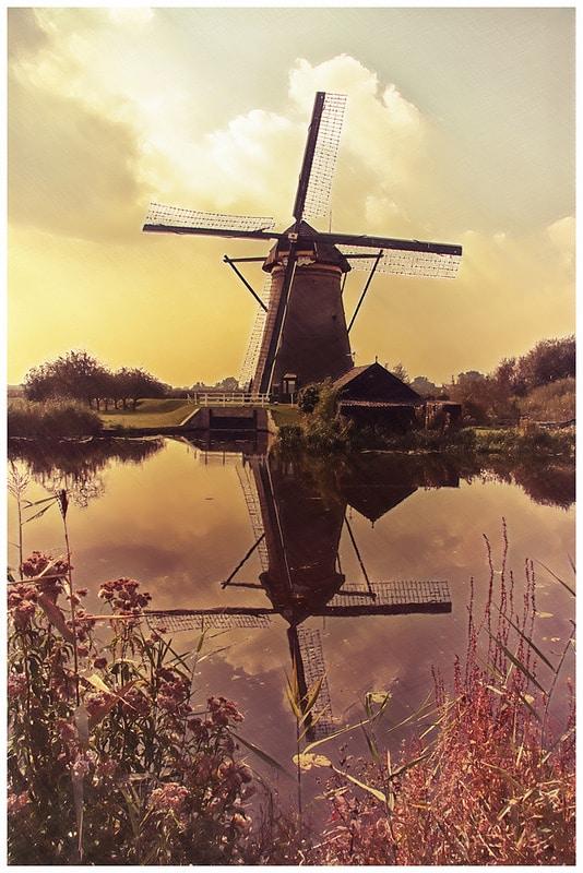 Romantische Mühle Nostalgieschild Poster Postkarte