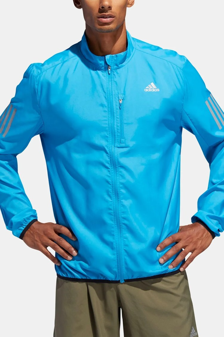 adidas Men's Water-Repellent Running Jacket, Cyan