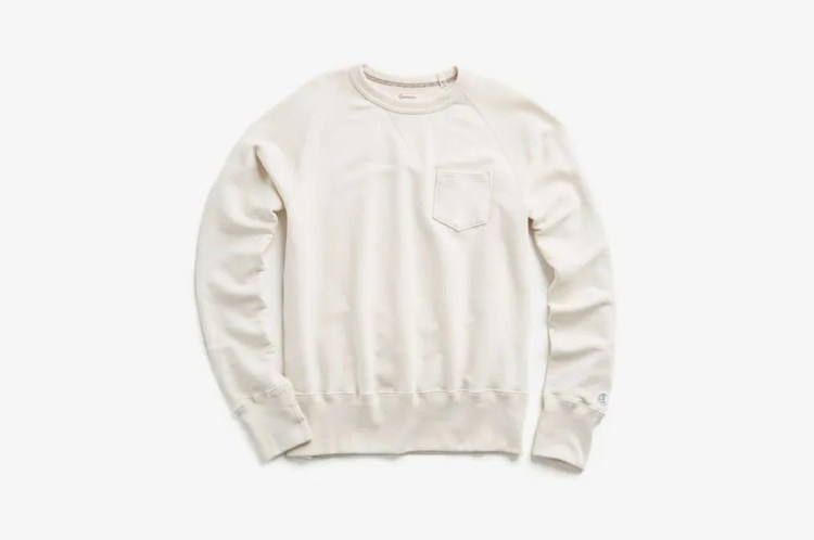Todd Snyder x Champion Classic Garment Dyed Pocket Sweatshirt in Vintage White