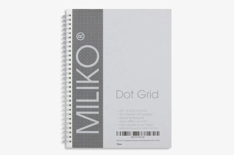Miliko Transparent Hardcover A5 Size Dot Grid Spiral Notebook 2-Pack