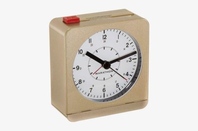 MARATHON CL030053SV Classic Silent Sweep Alarm Clock with Auto Night Light