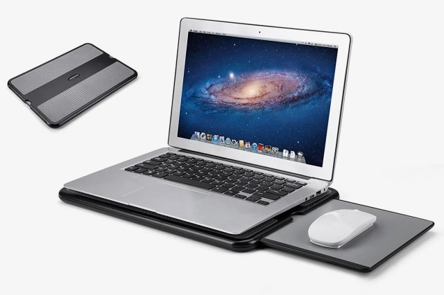 AboveTEK Portable Laptop Lap Desk With Retractable Left/Right Mouse Pad Tray
