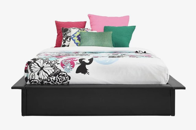 DHP Maven Platform Bed with Upholstered Faux Leather — Queen