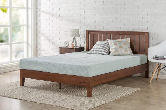 Zinus 12-Inch Deluxe Wood Platform Bed with Headboard — Queen