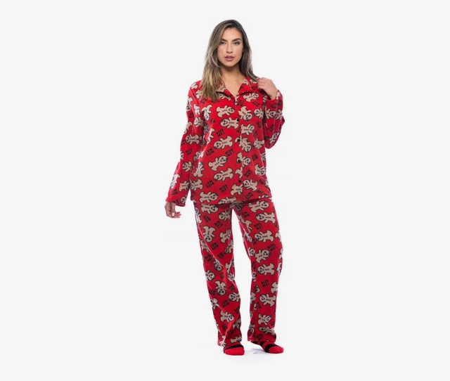 Best Christmas Pajamas For Women Followme Printed Microfleece Button Front Pj Set With Socks