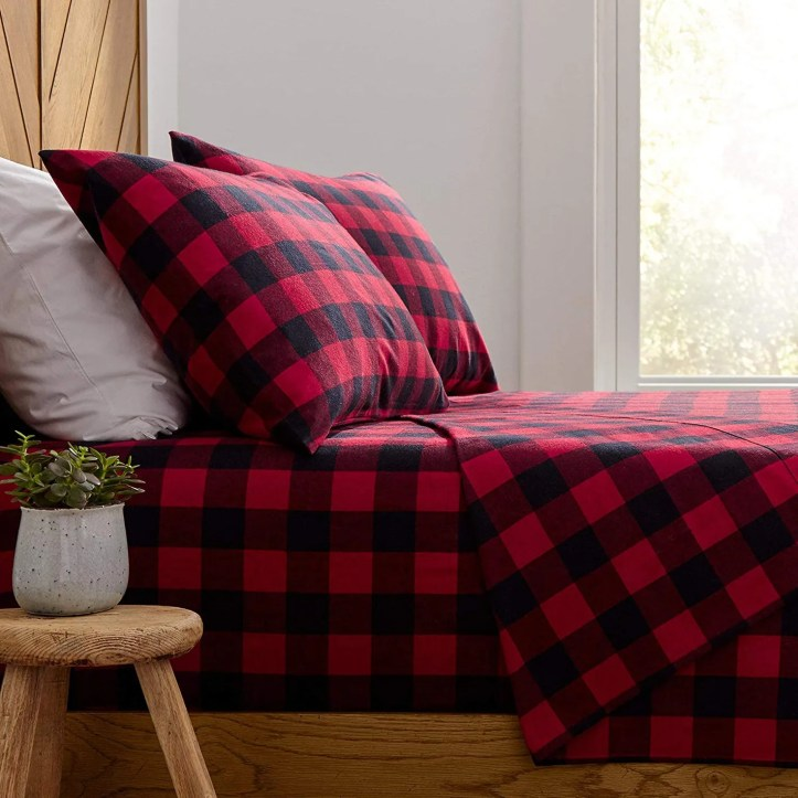 Stone & Beam Rustic Buffalo Check Soft and Breathable Flannel Yarn-Dyed Sheet Set