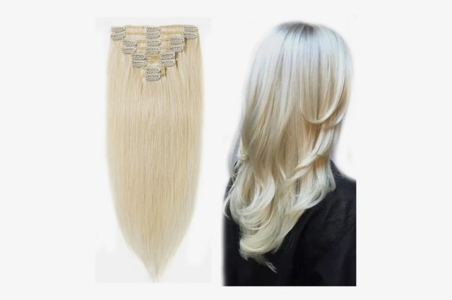 """MY-LADY Clip in 100% Remy Human Hair Extensions, Platinum Blonde 18"""", 100g, 8pcs"""