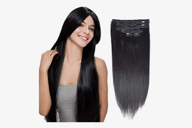 """BHF HAIR Clip in Hair Extensions, Jet Black, 16"""", 70grams, 6pieces"""