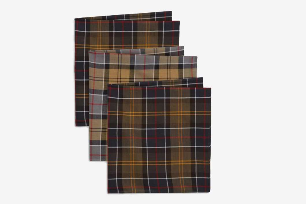 Barbour Classic Accessories Set of 3 Tartan Pocket Squares