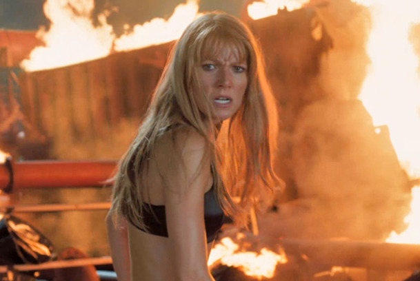 Paltrow half naked gets her hate on as molten lava Iron Girl in Iron Man 3 steals the show.