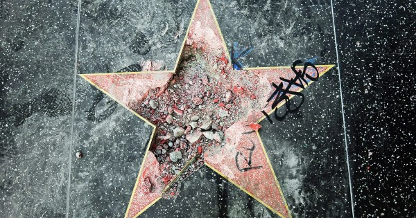 Donald Trump's Walk of Fame Star Destroyed With A Pickax