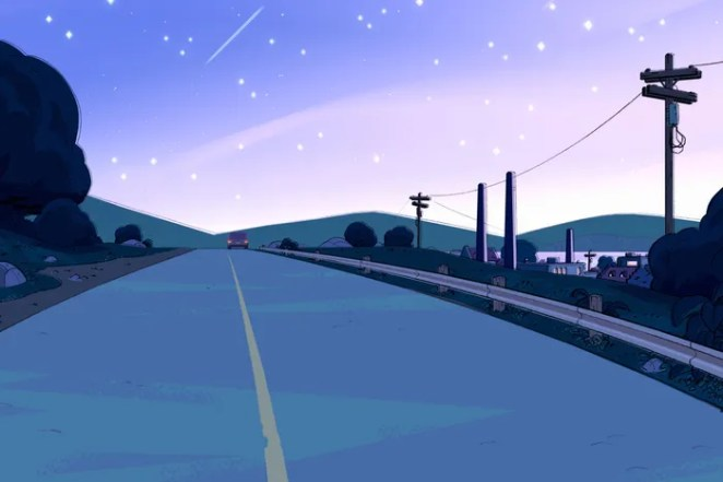 Steven Universe driving off into the sunset.
