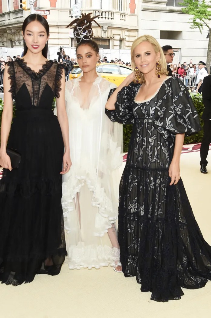 Fei Fei Sun, Tory Burch, and Sasha Lane attend the 'Heavenly Bodies: Fashion & The Catholic Imagination' Costume Institute Gala at The Metropolitan Museum of Art in New York City (May 7, 2018).