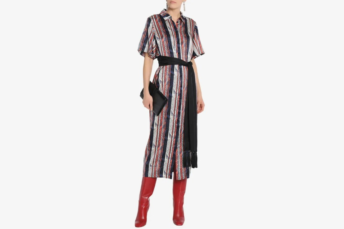 Cing À Sept Belted printed silk-satin midi shirt dress