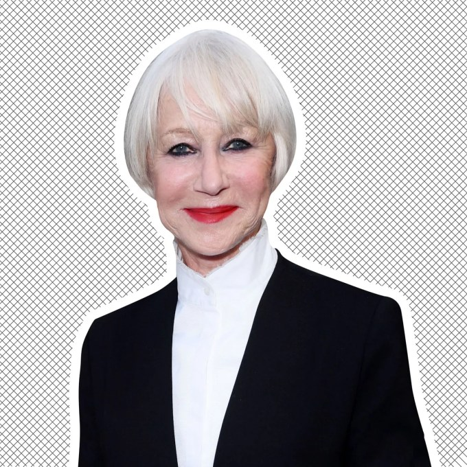 helen mirren cuts her hair with kitchen scissors