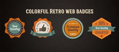 Colorful Retro Web Badges [Free]