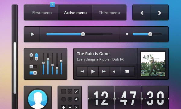dark website user interface kit